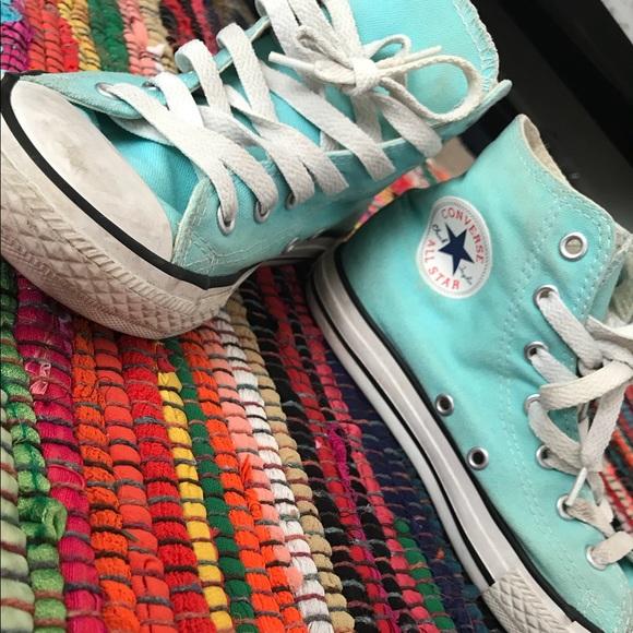 Tiffany blue high top converse